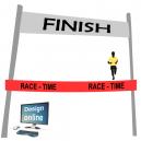 Design sullo schermo del computer, nastro del traguardo con testo e logo
