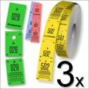 Tre biglietti per guardaroba in formato roll