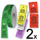 Rotoli di biglietti per il guardaroba divisi in due parti