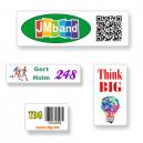 Adesivi su misura in formato A4 con testo e logo